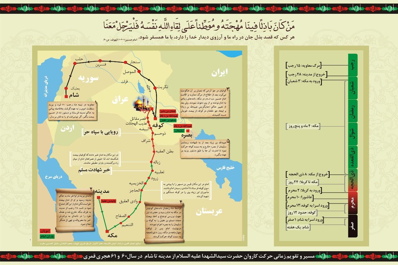 مسیر حرکت کاروان امام حسین علیه السلام از مدینه تا شام