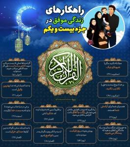 اینفوگرافیک راهکارهای زندگی موفق در قرآن کریم - جزء 21