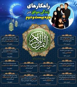 اینفوگرافیک راهکارهای زندگی موفق در قرآن کریم - جزء 22