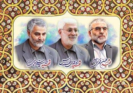 تصویر شهیدان سلیمانی، ابومهدی المهندس و فخری زاده