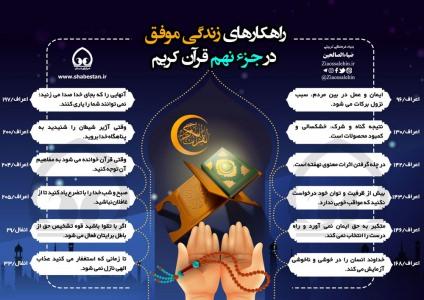 اینفوگرافیک راهکارهای زندگی موفق در جزء 9 قرآن/ به تفکیک سوره